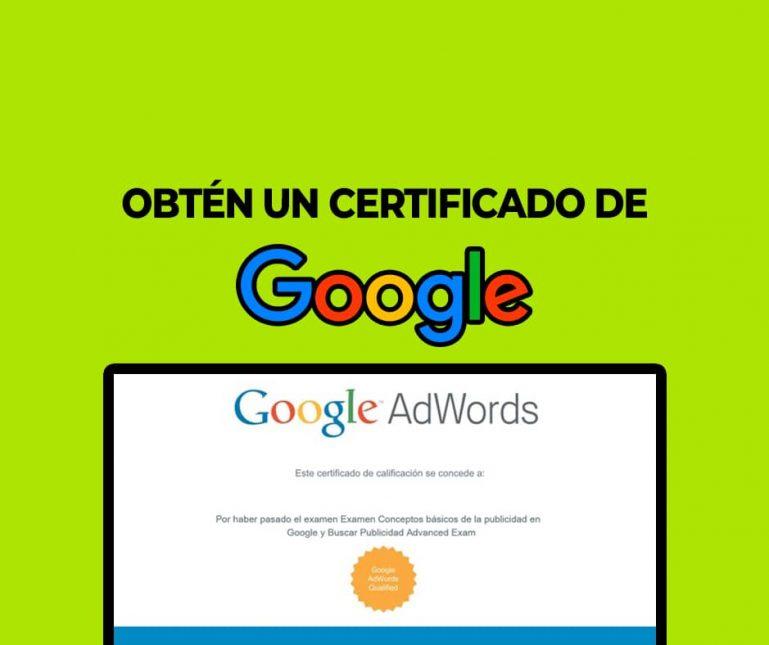 obtén un certificado de google
